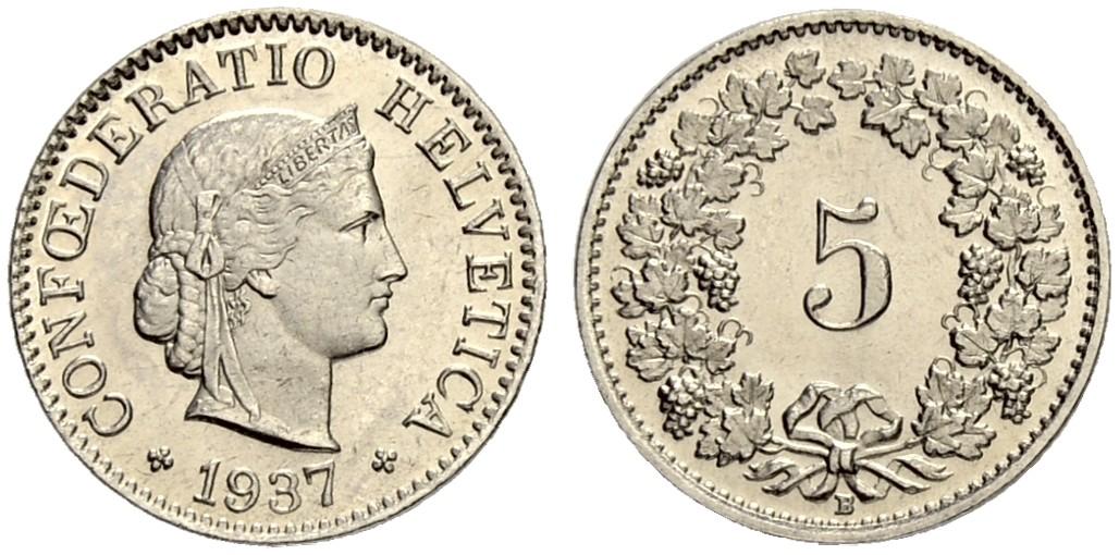 CH 5 Rappen 1937 B