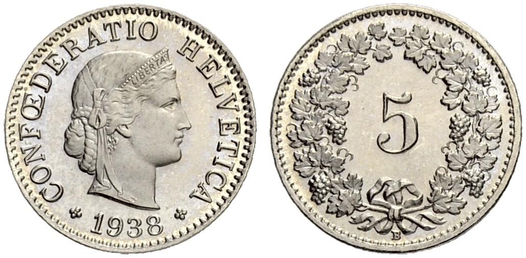 CH 5 Rappen 1938 B
