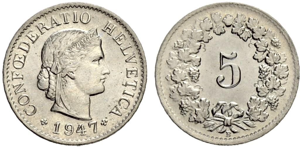 CH 5 Rappen 1947 B