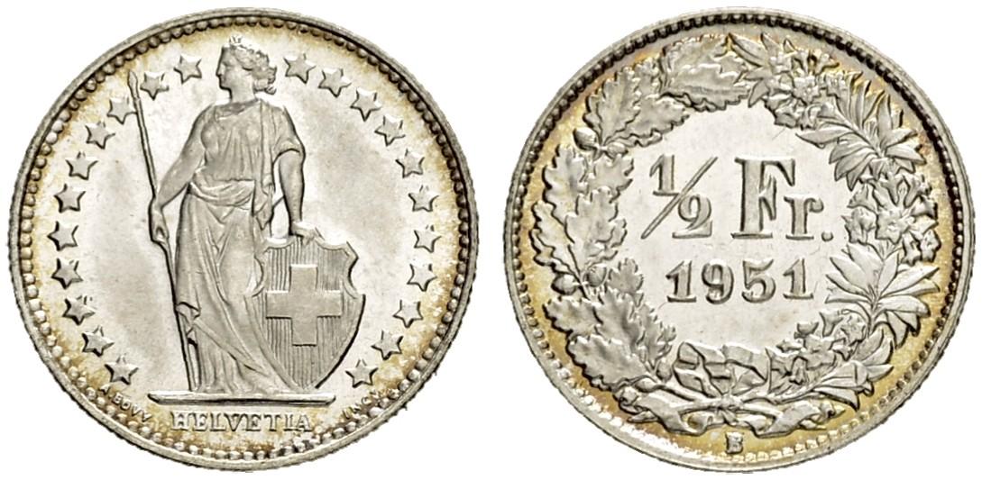 CH 1/2 Franken 1951 B