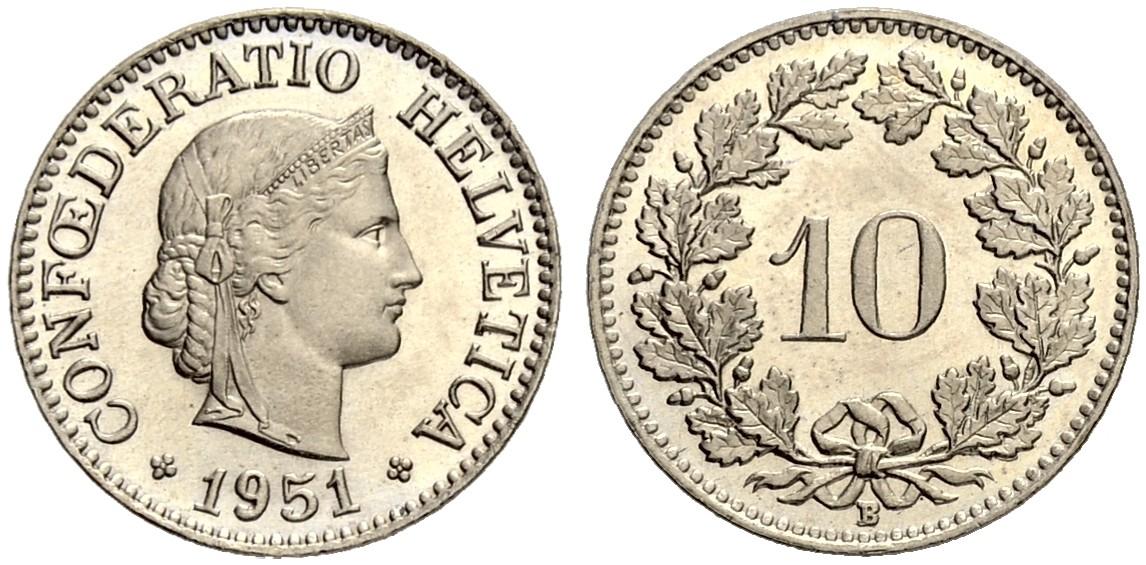 CH 10 Rappen 1951 B