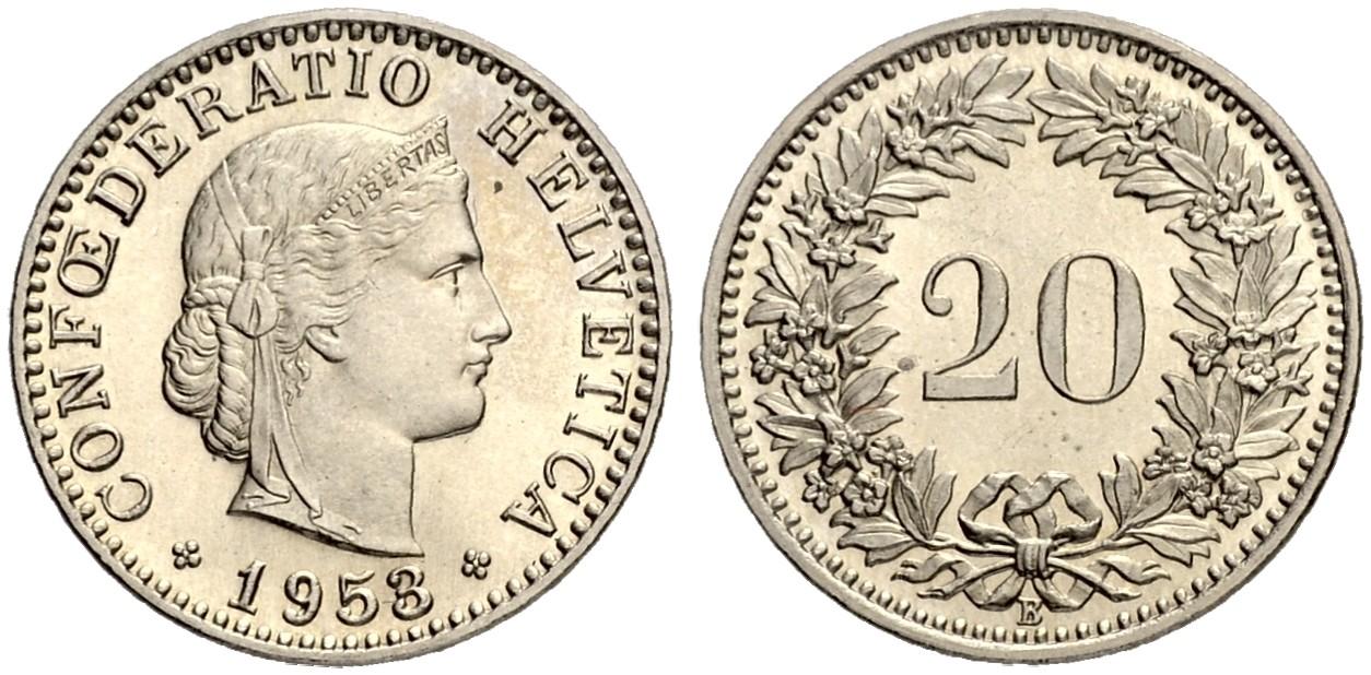 CH 20 Rappen 1953 B