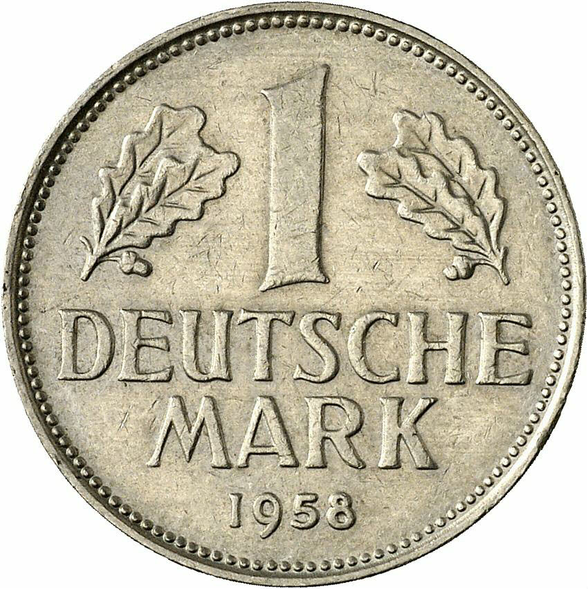 DE 1 Deutsche Mark 1958 J