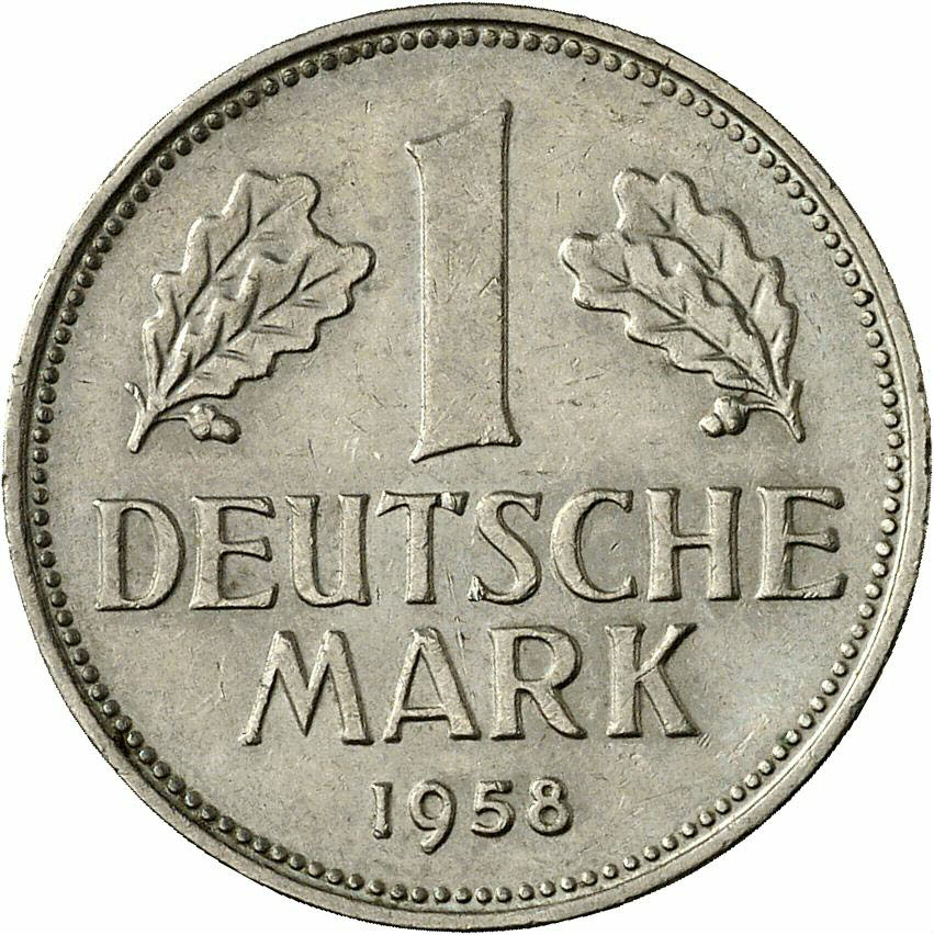 DE 1 Deutsche Mark 1958 F