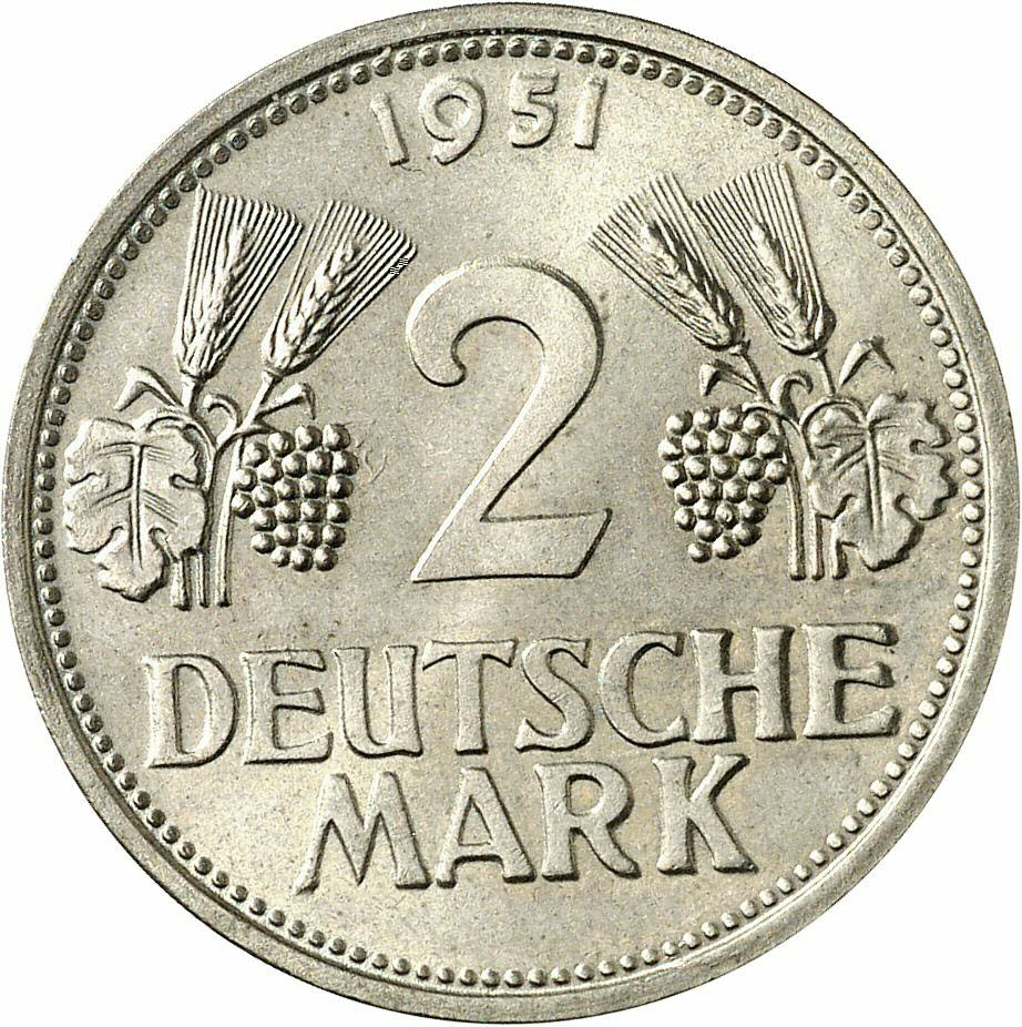 DE 2 Deutsche Mark 1951 F