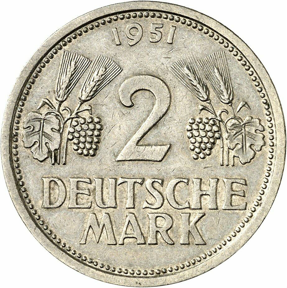 DE 2 Deutsche Mark 1951 J