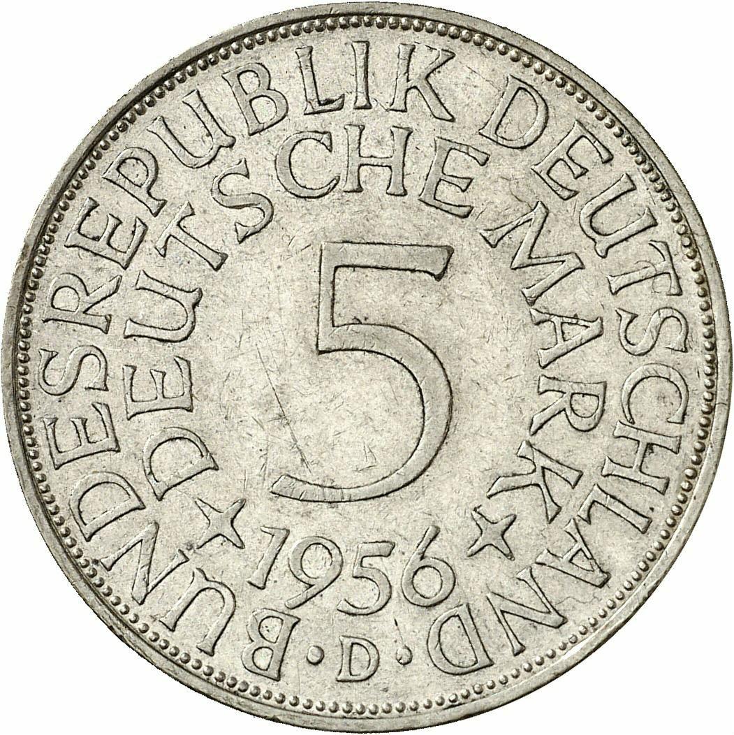 DE 5 Deutsche Mark 1956 J