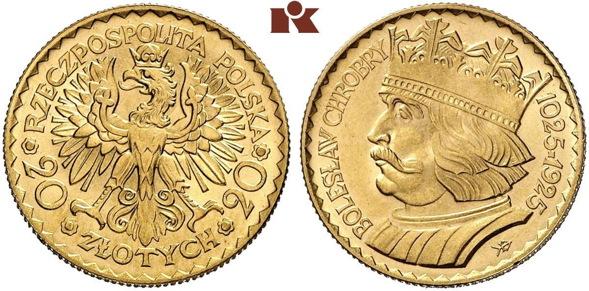 PL 20 Zloty 1925 Kościesza coat of arms