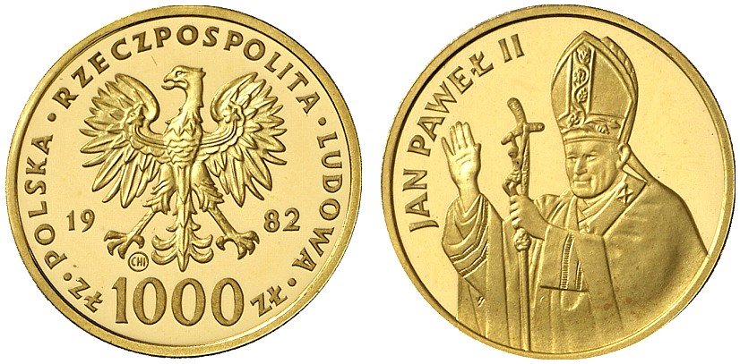 PL 1000 Zloty 1982 CHI within circle