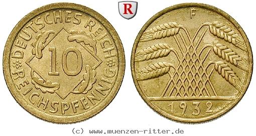 DE 10 Reichspfennig 1932 F