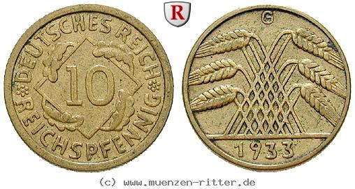 DE 10 Reichspfennig 1933 J