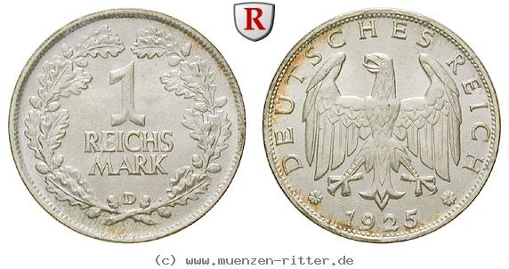 DE 1 Reichsmark 1925 D