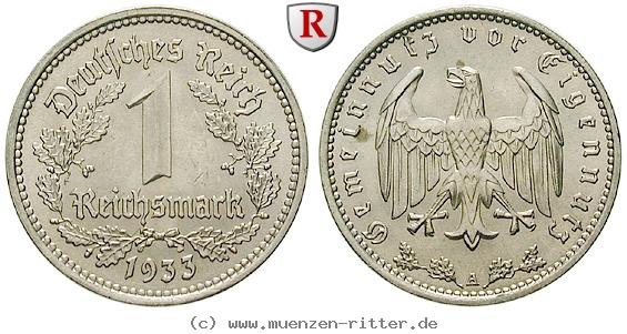 DE 1 Reichsmark 1933 J
