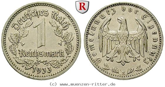 DE 1 Reichsmark 1933 E
