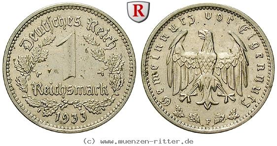 DE 1 Reichsmark 1933 F