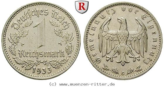 DE 1 Reichsmark 1933 G