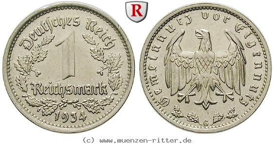 DE 1 Reichsmark 1934 F