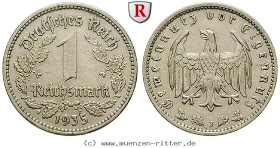 DE 1 Reichsmark 1935 J