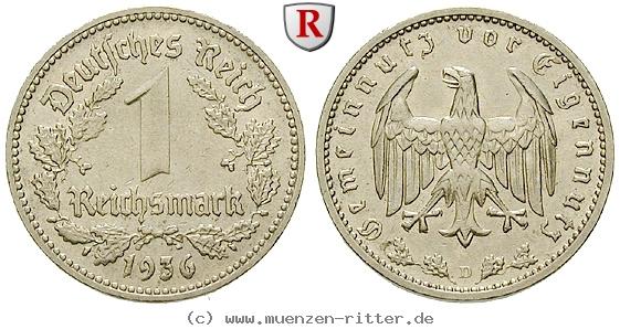DE 1 Reichsmark 1936 D