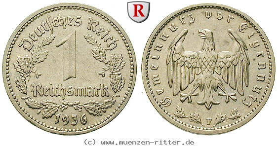 DE 1 Reichsmark 1936 F
