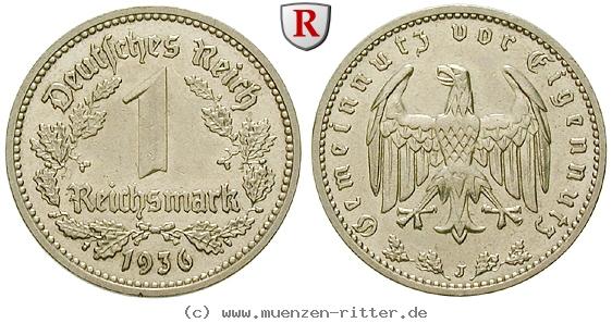DE 1 Reichsmark 1936 J