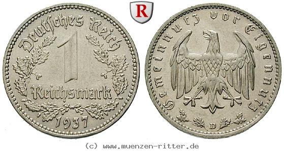 DE 1 Reichsmark 1937 D