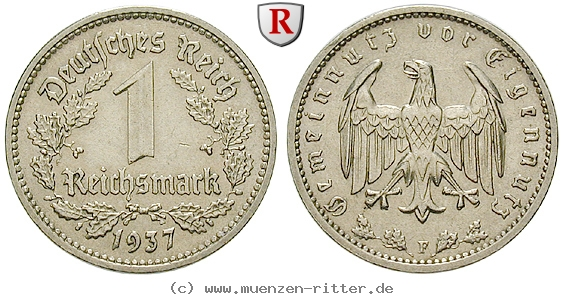 DE 1 Reichsmark 1937 F