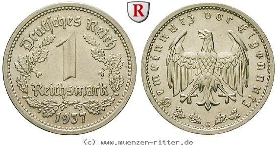 DE 1 Reichsmark 1937 G