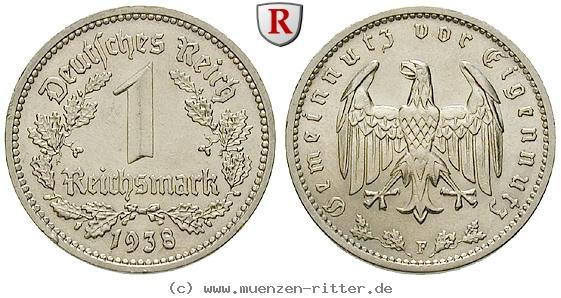 DE 1 Reichsmark 1938 F