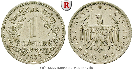 DE 1 Reichsmark 1938 G