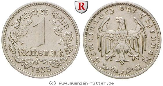 DE 1 Reichsmark 1938 J