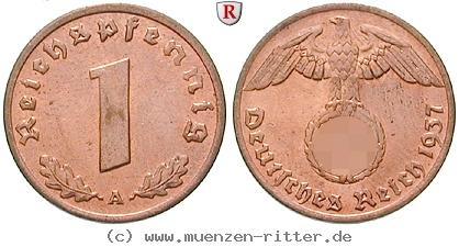 DE 1 Reichspfennig 1936 E