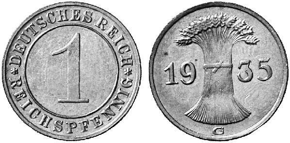 DE 1 Reichspfennig 1935 E