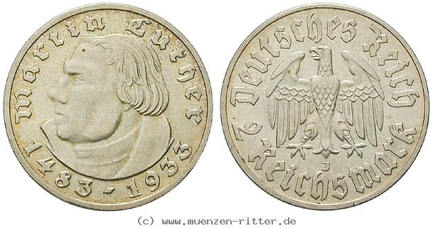 DE 2 Reichsmark 1933 J