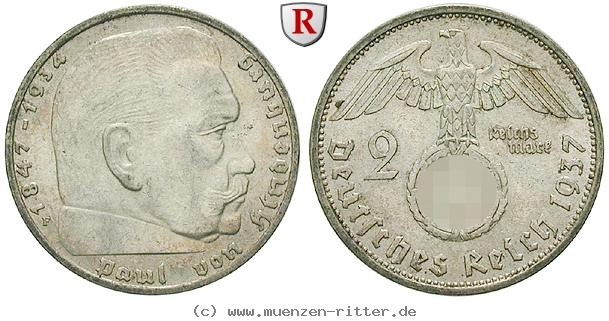 DE 2 Reichsmark 1937 F
