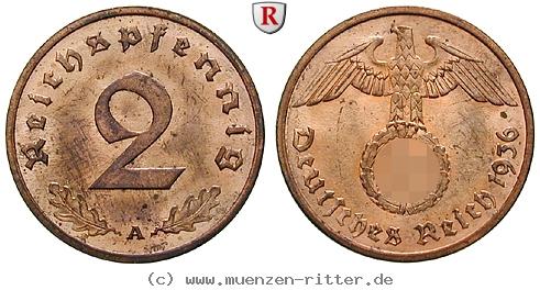 DE 2 Reichspfennig 1936 D