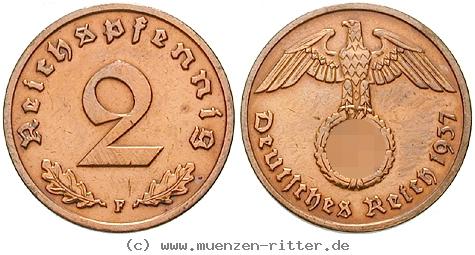 DE 2 Reichspfennig 1937 D