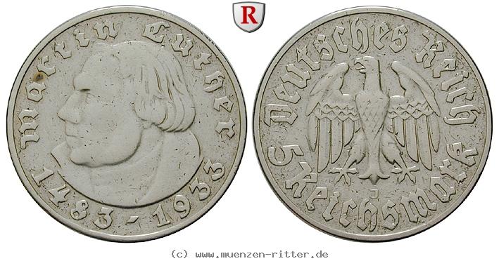 DE 5 Reichsmark 1933 J
