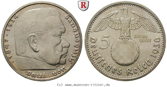 DE 5 Reichsmark 1936 E