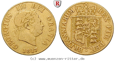 GB 1/2 Sovereign - Half Sovereign 1817