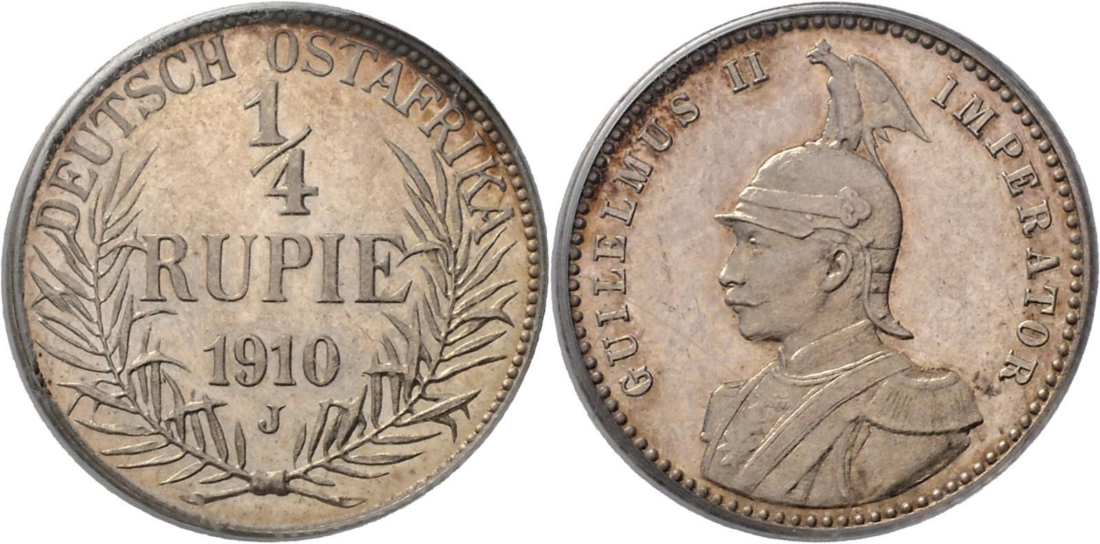 DE 1/4 Rupie 1910 J